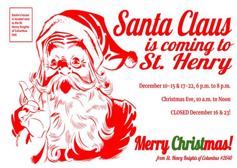 St. Henry Santa House Hours