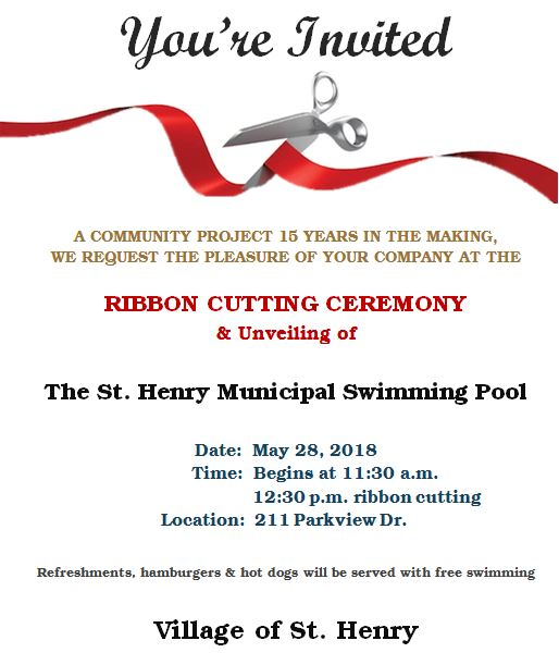 Ribbon Cutting Ceremony for the SH Municipal Swimming Pool